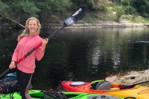 Beginning an overnight paddling adventure along the Suwannee River, near Live Oak.