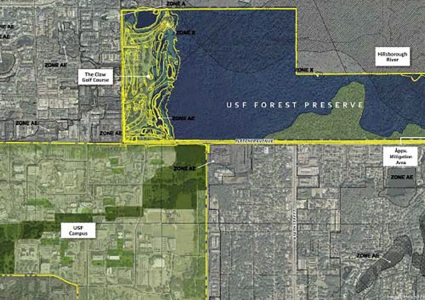 """Map depicting 769-acre USF Forest Preserve located just north of the University's main campus. Map retrieved from USF's """"request for information"""" from developers."""
